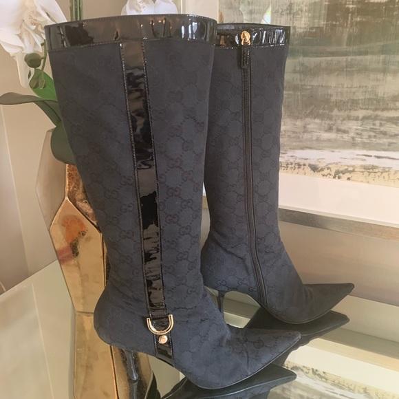 6dfa24b78 Gucci Shoes | Stiletto Logo Canvas Boots | Poshmark